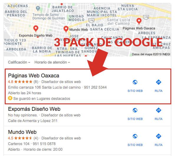 ejemplo de 3 pack de google